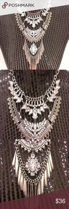 Statement necklace NWOT. never worn. Tags: multilayer, boho style, adjustable, vintage antique look.  Tags: coach Michael kors Kate spade j. Crew guess loft diamonds cubic zirconia crystals stones costume Jewelry Necklaces