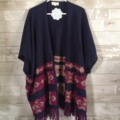 """Shop Hopes Poncho Cardigan Adorable """"Peace & Quiet"""" poncho style cardigan from shophopes.com... New with tags... Size S/M... Cute sweater for spring! Bo Bel Sweaters Cardigans"""