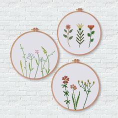 Wildflower cross stitch pattern natural house decor easy botanical design