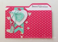 InkyPinkies: File Folder Valentine's Day Card, Hearts A Flutter, Perfectly You stamps and Chevron punch.
