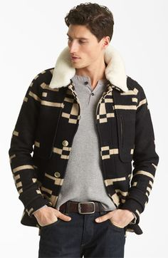 Pendleton Portland Collection 'Archive' Virgin Wool Coat with Genuine Shearling Collar
