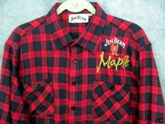 "Jim Beam XXL Flannel Shirt Maple Red Plaid 2X Pockets Drink Smart 49"" Chest L/Sl #JimBeam #ButtonFront"