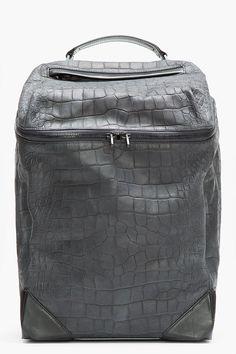ALEXANDER WANG Black Croc-Embossed Leather Backpack www.pho-london.com