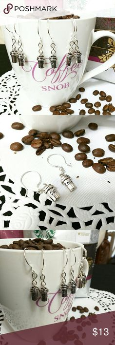 """""""Coffee"""" Cup earrings Handmade Silver tone earrings that say """" Coffee"""" on them. French hooks. Any Coffee Snob would love these! Desiree's Jewelry Box Jewelry Earrings"""