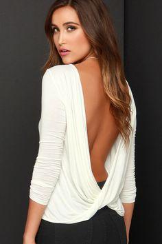 Walk Twist Way Ivory Long Sleeve Top at Lulus
