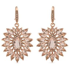 Carolee Rose Gold Pocket Park Cluster Drop Earrings (620 NOK) ❤ liked on Polyvore featuring jewelry, earrings, accessories, brinco, jew, rose gold, pink gold earrings, carolee, red gold jewelry and cluster earrings