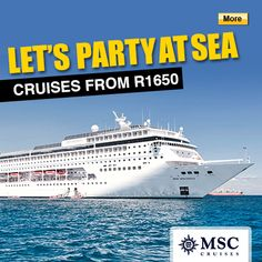 Cruise rates for yr olds - cruise close to home and party at sea! Student Flights, Msc Cruises, International Holidays, Go Your Own Way, Cruise Holidays, Touring, Youth, Sea, Adventure