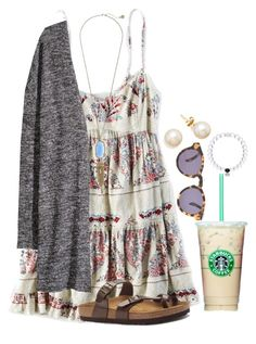 I almost have this whole outfit, minus the necklace by flroasburn on Polyvore featuring American Eagle Outfitters, H&M, Birkenstock, Kendra Scott and Illesteva