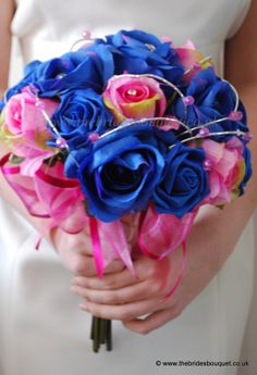Spring Summer Wedding flowers - royal blue and hot pink rose modern bridal posy