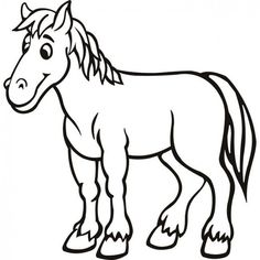 Horse Color Pictures For Kindergarten Cartoon Horse Pictures, Horse Cartoon, Cartoon Wall, Horse Outline, Animal Outline, Horse Coloring Pages, Cool Coloring Pages, Coloring Books, Coloring Pictures Of Animals