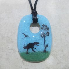 Dinosaur Necklace T-Rex Pendant Sky Blue and Green by mysassyglass