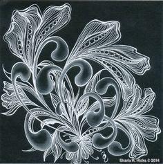black paper zentangles | Mooka in Black 2 by Sharla R. Hicks, Certified Zentangle Teacher ...