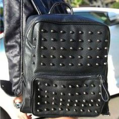 $11.95 Punk Women's Satchel With Solid Color and Rivets Design