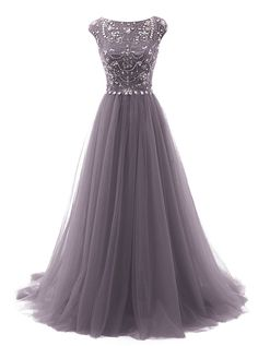 Tideclothes Long Beads Prom Dress Tulle Cap Sleeves Evening Dress at Amazon Women's Clothing store: