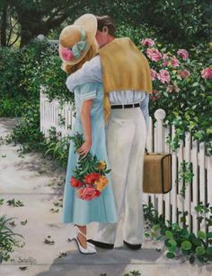 A kiss in the garden ❤ by Susan Rio Nostalgic Art, Vintage Couples, Vintage Romance, Romance Art, Couple Art, Couples In Love, Beautiful Paintings, Classic Paintings, Art Paintings