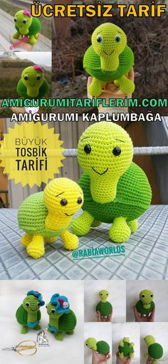 We continue to share with you the most beautiful patterns related to Amigurumi. Amigurumi turtle free pattern is waiting for you in this article. Crochet Gratis, Crochet Amigurumi Free Patterns, Crochet Animal Patterns, Stuffed Animal Patterns, Crochet Toys, Free Crochet, Yarn Projects, Crochet Projects, Crochet Ideas
