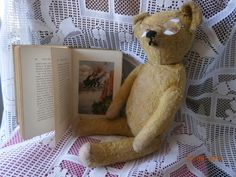 """Antique Teddy Bear with his very own book for sale on Ebay by """"bearlyused2002"""""""