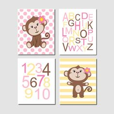 Baby Girl Nursery Art Monkey Alphabet Numbers by LovelyFaceDesigns