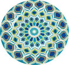 KARE Design Teller Peacock grafisches Pfauenmuster Blau Grün Türkis NEU