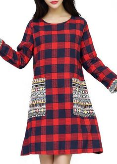 Red Pocket Design Plaid Print Dress on sale only US$25.43 now, buy cheap Red Pocket Design Plaid Print Dress at lulugal.com