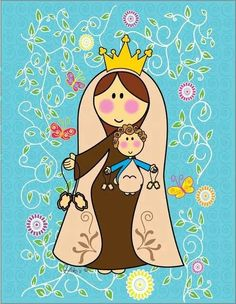 Virgen do Carmelo Mother Mary, Mother And Child, Madonna, Mama Mary, Holy Mary, Catholic Saints, Blessed Virgin Mary, Arte Popular, Blessed Mother