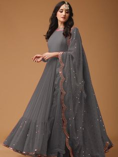 Designer Georgette Gown Color Available-Raramart Nepal, Online . New Designer Georgette Gown Color Available-Raramart Nepal, Online gray color gown design - Gray Things Party Wear Indian Dresses, Gown Party Wear, Indian Fashion Dresses, Designer Party Wear Dresses, Pakistani Dresses Casual, Indian Bridal Outfits, Indian Gowns Dresses, Kurti Designs Party Wear, Dress Indian Style
