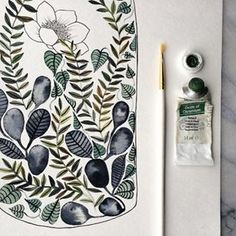 """One of my absolute FAVORITE creatives to follow is @themintgardener! Let's meet her...⠀ ⠀ """"I paint and create every day in order to feel life more deeply. Every afternoon, I sit at my great-grandmother's writing desk with a paintbrush to reconnect with myself and recharge as a being. It has become a daily, calming meditation for me. I believe it is so important to show up every day, even if you're not working on a masterpiece. Some days you just sit and mix colors, or sketch, or practice…"""