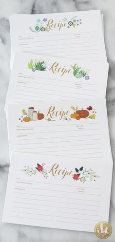 FREE Printable Recipe Cards! One for each season! via Inspired by Charm
