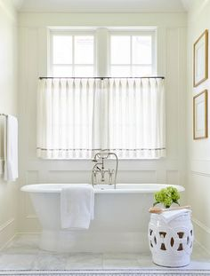 The highlands – sarah bartholomew bath window, bathroom window curtains, bathroom window treatments, Bath Window, Bathroom Window Curtains, Bathroom Window Treatments, Bathroom Windows, Window Blinds, Bad Inspiration, Bathroom Inspiration, White Bathroom, Master Bathroom