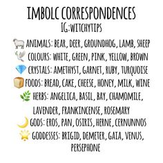 Imbolc correspondences! Wiccan Sabbats, Wicca Witchcraft, Magick, Paganism, Witchcraft For Beginners, Baby Witch, Season Of The Witch, Book Of Shadows, Spelling