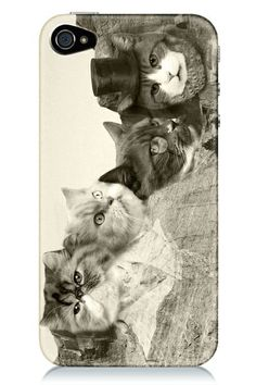iphone case featuring cats dressed as little gentlemen