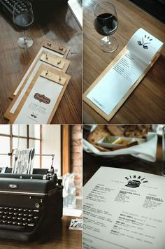 A very different menu treatment for a restaurant called Bluebeard. It is reminiscent of… - food categories Carta Restaurant, Restaurant Identity, Deco Restaurant, Restaurant Menu Design, Menue Design, Food Menu Design, Wood Menu, Bar A Vin, Menu Book