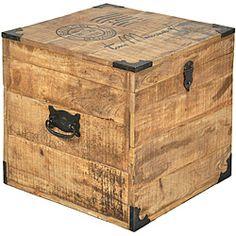 Rustic All Wood Storage Ottoman