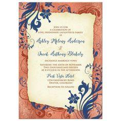 Navy blue and copper vintage floral wedding invitation.