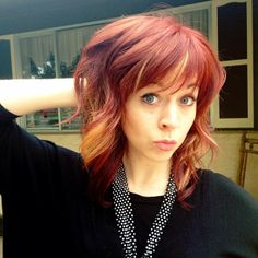Lindsey Stirling-love the combo of red hair and blonde highlights