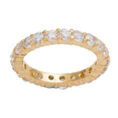 Kate Bissett 14k Gold over Sterling Silver Stackable Clear Cubic... ($32) ❤ liked on Polyvore featuring jewelry, rings, yellow, cubic zirconia eternity ring, 14k yellow gold ring, cz eternity ring, eternity ring and gold stackable rings