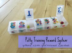 Potty Training Reward System: a pillbox filled with portioned candies