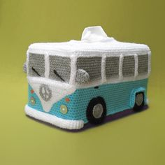 Tissue Box Cover VW (inspired) Bus Crochet Pattern - http://pinterest.com/Allcrochet