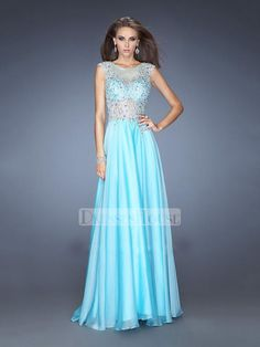 Boat Neckline Cap Sleeves Beadings Open Back Prom Dress PD11718