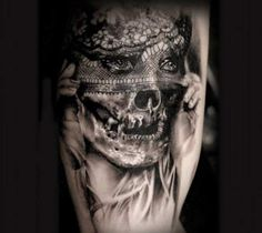 Incredible black and grey realistic tattoo style of Undead Bride motive done by artist Michael Taguet