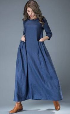 The linen dress is a casual dresses for women, it is a cobalt blue dress. The lo… – Linen Dresses For Women Trendy Dresses, Casual Dresses For Women, Blue Dresses, Maxi Dresses, Dress Casual, Casual Outfits, Flowing Dresses, White Outfits, Pretty Outfits