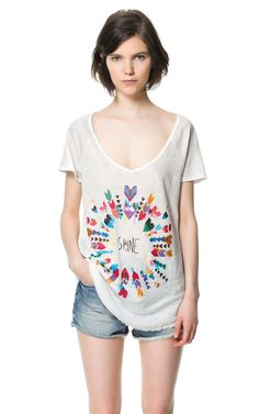 CAMISETA LINO ESTAMPADA - Camisetas - Mujer - ZARA España
