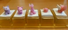 My New Year's lucky pigs of the last five years in chronological order from left to right. My office colleague has a permanent exhibition on her desk ; Office Colleague, Pigs, Polymer Clay, Desk, Create, Co Workers, Simple, Desktop, Writing Desk