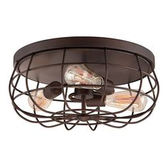 Interesting Bulbs inside Contemporary Flush Mount Ceiling Light with Metal Frame and Round Base