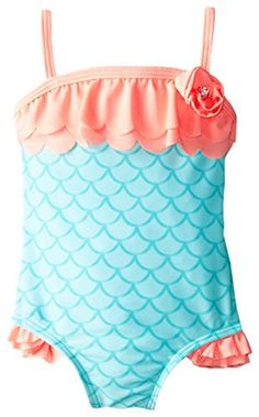 MERMAID Toddler Girls One Piece Swimsuit Bunz Kidz Swimwear 2T 3T 4T