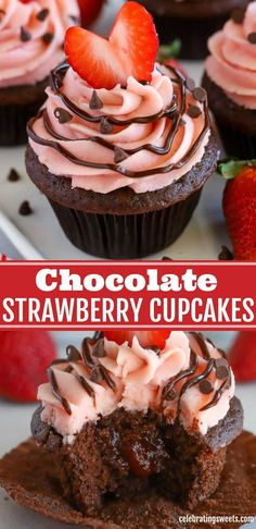 The best Chocolate Strawberry Cupcakes! Fluffy chocolate cupcakes, strawberry buttercream frosting, and a special surprise inside! Chocolate Strawberry Cupcakes, Strawberry Cupcake Recipes, Strawberry Buttercream, Chocolate Strawberries, Chocolate Desserts, Buttercream Frosting, Gourmet Cupcake Recipes, Fruit Recipes, Dessert Recipes