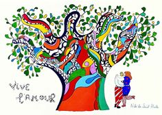 From RMN Grand Palais, Niki de Saint Phalle & Jean Tinguely, Vive l'Amour Felt and gouache on bristol Jean Tinguely, Pop Art, Guggenheim Bilbao, Avant Garde Artists, French Sculptor, Love Posters, National Art, Alphonse Mucha, Colors