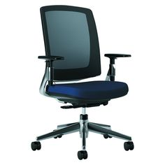 Hon Company Lota Series Mesh Mid-Back Work Chair, Black Fabric, Polished Aluminum Base, As Shown