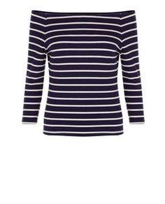 Navy Ribbed Stripe Bardot Neck Long Sleeve Top  | New Look