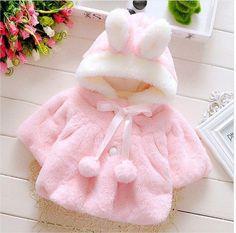 Girls Rabbit Ear Fleece Coat